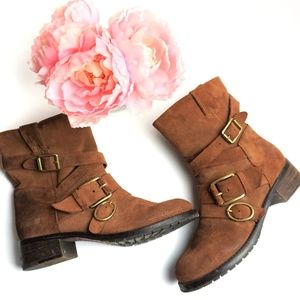 Lucky Brand | Brown Suede Moto Boots Size 9